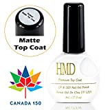 Canada FREE SHIPPING HMD Soak Off UV LED Premium NO WIPE Matte top coat gel nail polish fast cure fast shipping 8ml