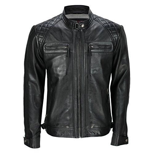 de hombre motero marca Xposed y de piel Chaqueta cremallera vintage color con para la auténtica negro Negro estilo xAIwIOP