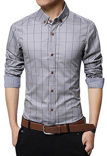Dress Grays Cotton Shirt - LOCALMODE Men's 100% Cotton Long Sleeve Plaid Slim Fit Button Down Dress Shirt X-Large Grey