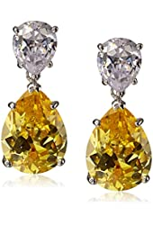 "CZ by Kenneth Jay Lane ""Trend Cubic Zirconia"" Rhodium-Plated Pear Drop Earrings, 6 CTTW"