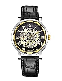 GuTe Classic Skeleton Unisex Mechanical Wrist Watch Hand-wind Steampunk Black Golden