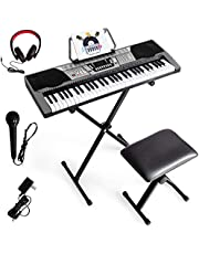 $129 » Costzon 61 Full-size Digital Piano Keyboard with Stand, LED Screen, Headphones, Microphone, X-Style Stand, 3 Teaching Modes, 61 Percussions, MP3 Input, Ideal for Beginner Kids Adult