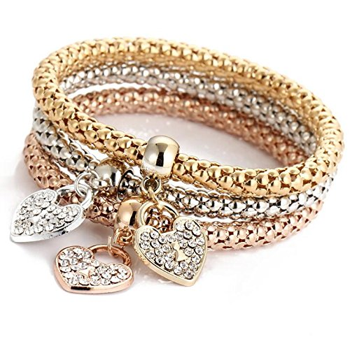 Price comparison product image Unique Women's Love heart Diamond Chain Bracelet & Bangle