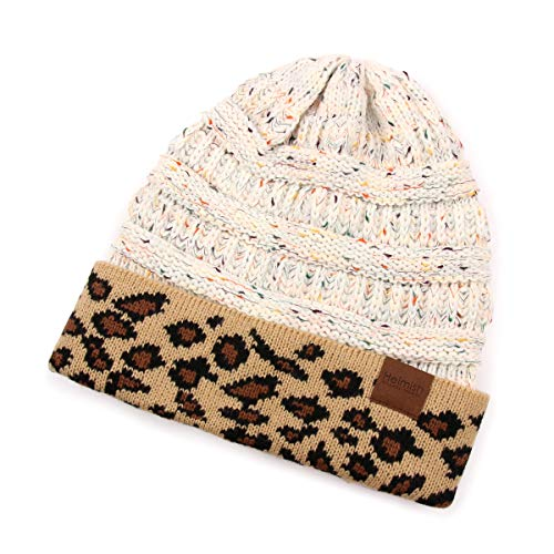 RIAH FASHION Cable Knit Ponytail Beanie Hat - Stretch High Bun Hair Sweater Winter Headwrap Solid, Leopard (Leopard/Cuff - Ivory ()