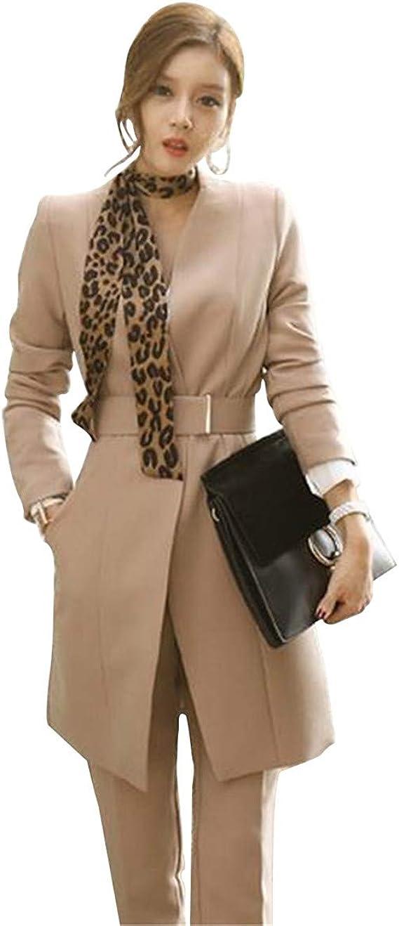 Amazon.com: Conjunto de blazer y pantalón largo de 2 piezas ...