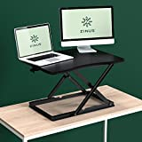 Zinus Smart Adjust Standing Desk/Height Adjustable Desktop Workstation/28in x 21in/Black