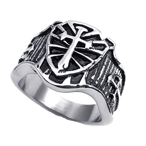 Gnzoe Jewelry,Men's Stainless Steel Ring Silver Tone Black Silver Celtic Medieval Cross Shield Size 9