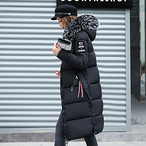 Xuanku Even Slimming Wool Jacket Autumn Cap Collar Down Long Cotton Cotton Is Winter The Clothing Women Black Coat HH1wY