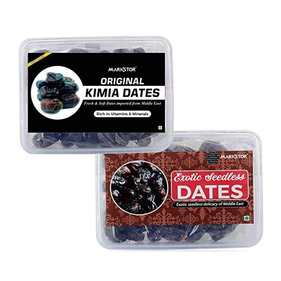Markstor Festive Special Premium Dates Combo Gift Pack - Original Kimia Dates (500g) & Exotic Seedless Dates Imported from The UAE (500g)