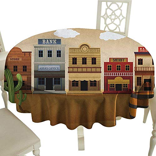 longbuyer American Washable Tablecloth Wild West Scenery Village Old Town Texas Cowboy States Nostalgic Illustration Diameter 54