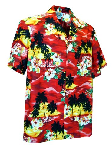 Pacific Legend Mens Brilliant Hawaiian Island Sunset Shirt in Red 4X
