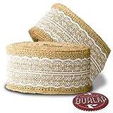 Burlap Ribbon with White Lace - 39 Feet Long - Burlap Lace Ribbons.