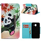 Leather Wallet Case for Samsung Galaxy J720 2017,Shinyzone Cute Cartoon Animal Panda Painted Pattern Flip Stand Case,Wristlet & Metal Magnetic Closure Protective Cover