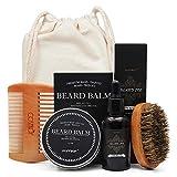 Facial Hair Styles With Glasses - Cosprof Mens Beard Grooming Kit, Includes Beard Balm/Beard Oil/Beard Comb/Beard Brush - Daily Beard Care Set Keeps Beard and Mustache Healthy, Full and Soft