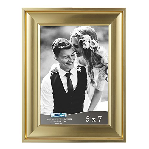 Icona Bay 5 by 7 Picture Frame (5x7, 1 Pack, Gold) Photo Frame, Wall Mount Hangers and Black Velvet Back, Table Top Easel, Landscape as 7x5 Picture Frame or Portrait as 5x7, Elegante Collection