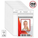 MIFFLIN Plastic ID Badge Holders, Vertical Hanging Card Holder with Zipper, Clear Bulk Nametag Holders (250 Pack)