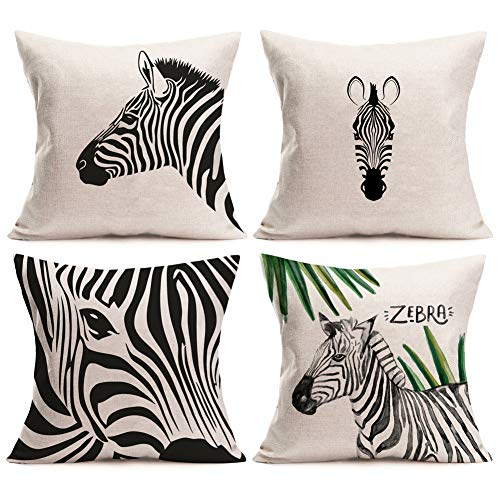 (Aremazing Summer Tropical Zebra Throw Pillow Covers Set of 4 Black White Stripe Abstract Art Horse Decorative Pillowcase Linen Throw Pillow Case Cushion Cover 18x18 Inch for Sofa Bedding Livingroom)