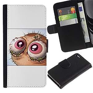YiPhone /// Tirón de la caja Cartera de cuero con ranuras para tarjetas - Resumen Lol Wtf Ojos Ren y St1Mpy - Apple Iphone 4 / 4S
