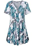MOQIVGI Flowy Shirts for Women,Summer Clothes Trendy Floral Pattern Printed Figure Flattering Tops Leisure Wear Vacation Beach Hawaiian Tunics Scalloped Draped Swing Ladies Blouses Green White Large