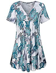 Moqivgi Womens Tunics Short Sleeve Summer Hawaiian Shirts Ladies Designer Cozy Slim Fit Trapeze Flowy Boutique Blouses Pretty V Neck Breathable Cool Breezy Tops For Leggings Green White Xx Large