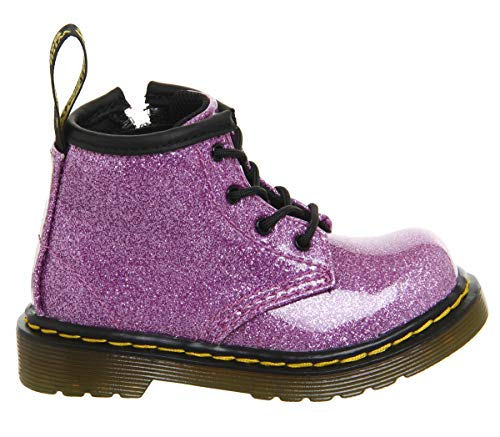 Dr. Martens Kid's Collection Baby Girl's 1460 Patent Glitter Toddler Brooklee Boot (Toddler) Dark Pink Coated Glitter 6 M UK M -