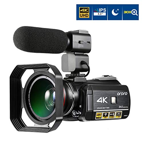 Camcorder 4K, ORDRO AC3 3.1'' IPS Touch Screen UHD 4K Video Camera 1080P 60FPS 24MP Digital WiFi Video Camera, IR Night Vision Camcorders with Microphone and Wide Angle Lens (Included Macro Lens)