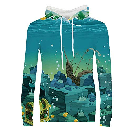 Cartoon Decor Durable Hoodies,Seascape Underwater with Treasure Galleon and Sunk Ship Pirate Kids Print for Women,M (Galleon Pirate Ship)