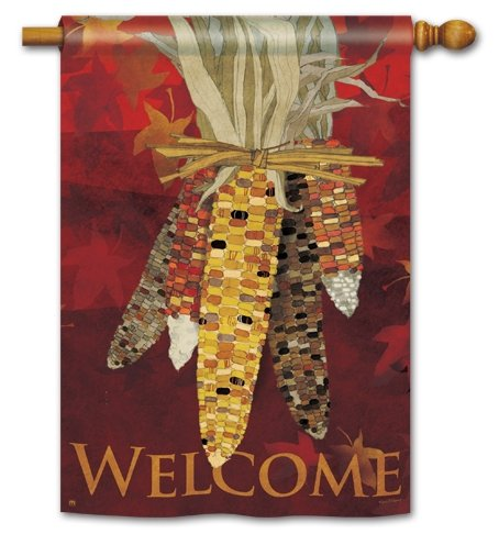 "Welcome, Fall, Indian Corn ""MAIZE"" Standard House Flag, 28″x40″"