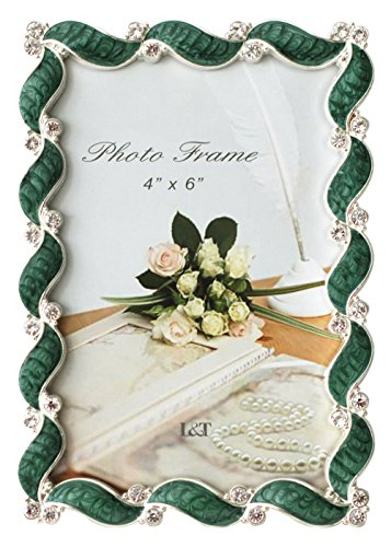 L&T Waves Design Green Enamel Picture Frame Metal with Silver Plated and Crystals 4x6 ()
