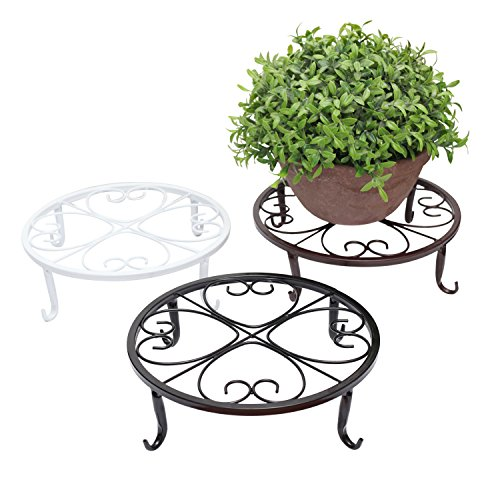 Planter Bench Set (ZUYEE Plants Stand Indoor Outdoor Wrought Iron Sturdy Flower Pot Supporting Olde Metal / Iron Art , 9.5 inch, Flowerpot Holder for Garden Studios Pack of 3 Colors,Black, White& Brown (2.5 inch))