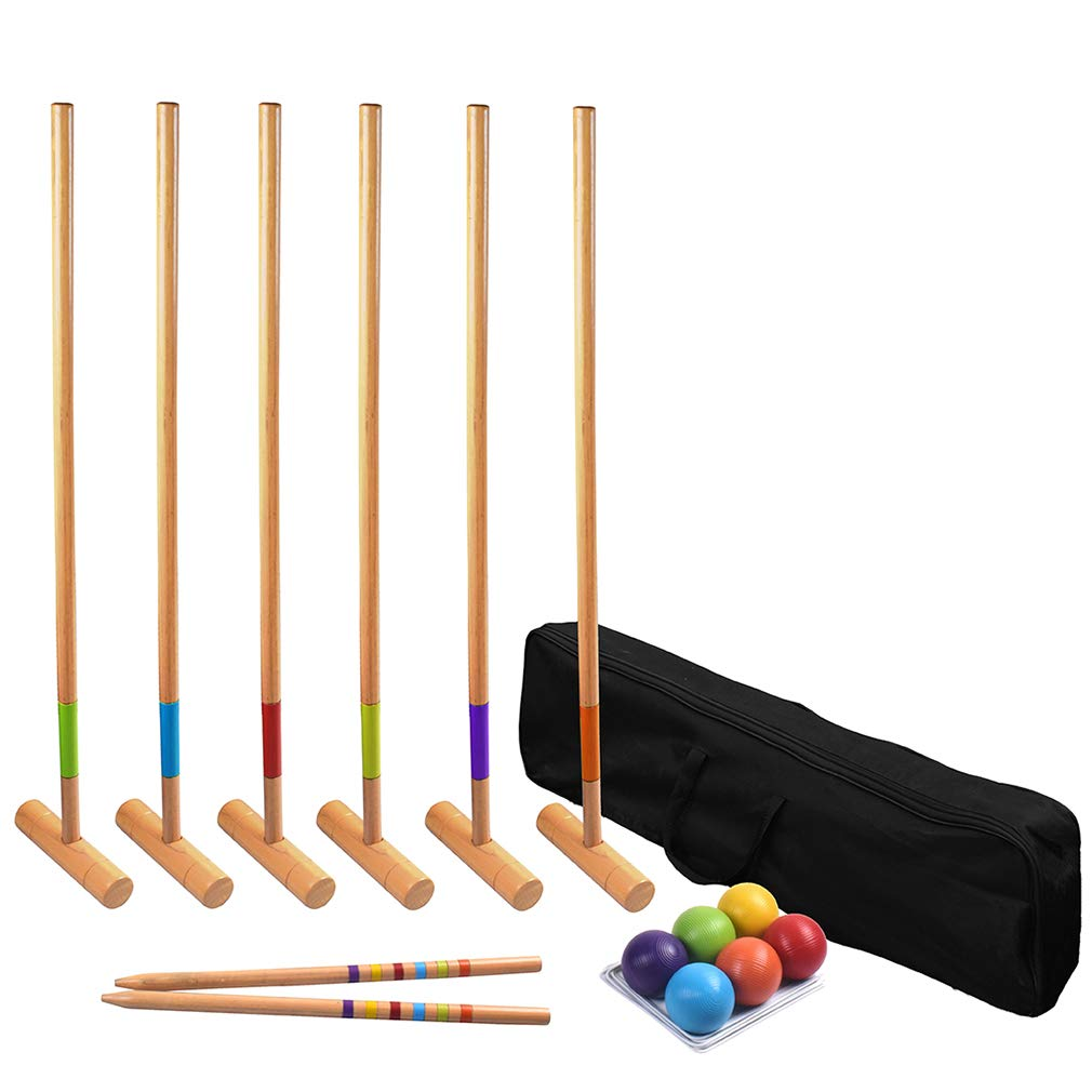 Long game 6-Player Premium Hardwood Croquet Set for Kids and Adults Families Backyard Games with Carry Bag- Mallets, Balls, Stake Posts, Wickets (35 Inch Deluxe Edition)