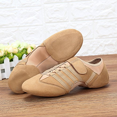 Schuhe Ballet Sneaker Weich Beige Trainings Dance Tanz katliu Herren Damen Klettverschluss Jazz Gymnastik mit Schuhe Flach Jazzdance xCv1Iqp