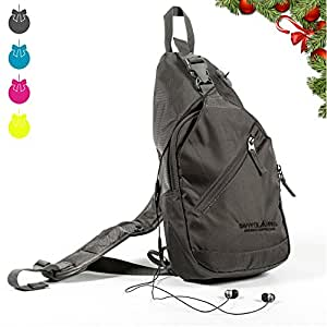 Sling Backpacks for Women with Convenient Headphone Hole (Multiple Colors) - Crossbody Single Shoulder Bag - Multipurpose Daypack Great for Hiking, Camping, Travel, & More - by Savvy Glamping