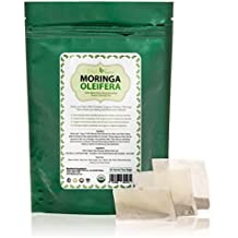 Organic Moringa Tea Bags 30 All Natural 100% Certified Pure Raw Dried Oleifera Leaf - Highly Nutritious Energizer and Refresher - Caffeine Free - Love it or your Money back