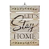 "Imprints Plus Let's Stay Home Inspirational Reclaimed Wood Sign, 12"" x 16.25"" Rustic Wall Decor Plaque Hangers Bundle 12600011 For Sale"
