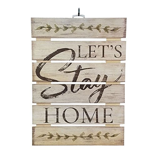 """Imprints Plus Let's Stay Home Inspirational Reclaimed Wood Sign, 12"""" x 16.25"""" Rustic Wall Decor Plaque Hangers Bundle 12600011"""