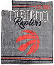 Nemcor NBA Toronto Raptors Soft Sherpa Throw Blanket for Basketball Sports Fan, Grey (50x60)