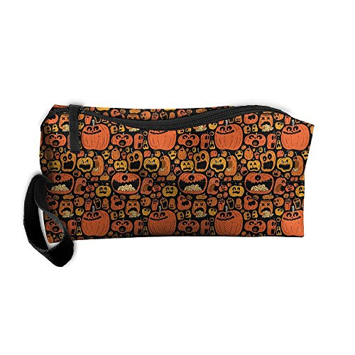Halloween Pumpkin Jack-o-lantern Handy Storage Pouch Travel Makeup Bag Oxford Cloth Kit Organizer For Sewing Medicine Comestic Fashion Pencil Pen Case (Jack O Lantern Halloween Makeup)