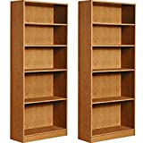 Mylex Five Shelf Bookcase; Three Adjustable Shelves; 11.63 x 29.63 x 71.5 Inches, Oak, Assembly Required (43070), Set of 2