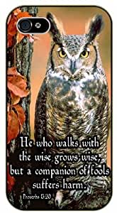 He who walks with the wise grows wise - Proverbs 13:20 - Vintage owl - Bible verse IPHONE 5C black plastic case / Christian Verses