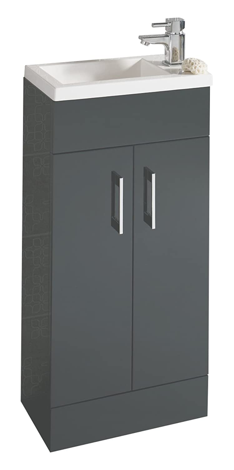 E-PLUMB Anthracite Square Basin Bathroom Furniture Cloakroom Compact Vanity Unit 400 X 250 400X250ANT