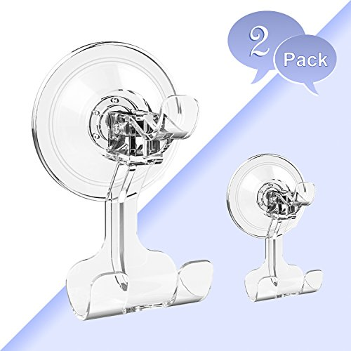 Price comparison product image BUDGET & GOOD Suction Cup Hooks Heavy Duty Suction Hooks and Razor Holder for Shower Waterproof Wreath Hanger for Towel Robe Loofah Bathroom and Kitchen Accessories,  2 Pack Clear
