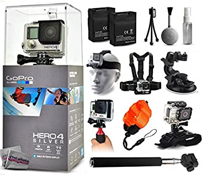 GoPro Hero 4 HERO4 Silver Edition CHDHY-401 with 2 Batteries + Selfie Stick + Head Strap + Chest Strap + Car Dash Mount + Wrist Strap + Opteka HG1 + Floating Strap + Cleaning Kit