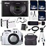 Nikon 1 J4 Mirrorless Digital Camera with 10-30mm Lens (Black) (International Model No Warranty) + Nikon WP-N3 Waterproof Housing + EN-EL22 Battery + 56GB Total Memory + 6AVE Bundle