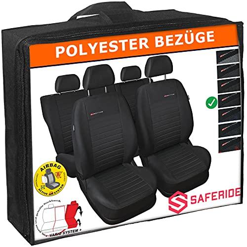 Saferide Autostoelhoezen voor de auto, universeel, polyester, grijs, geschikt voor airbag, voor voorstoelen en…