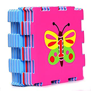 Lovely Garden Rubber EVA Foam Puzzle Play mat Floor. 9 Interlocking playmat Tiles (Tile:12X12 Inch/9 Sq.feet Coverage). Ideal: Crawling Baby, Infant, Classroom, Toddler, Kids, Gym Workout time