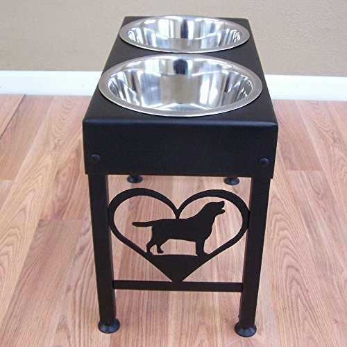 Labrador Retriever Raised Dog Feeder Stand by Modern Ironworks