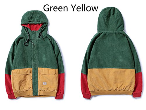 Catwomanfun Color Block Patchwork Corduroy Hooded Jackets Men Hip Hop Zipper Up Hoodies Coats Male New Streetwear Outerwear Green M by Catwomanfun