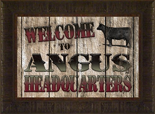 Angus Headquarters By Todd Thunstedt 17.5x23.5 Ringneck Pheasant Barn Farm All Farming John Deere IH Farmall Allis Ford New Combine Pig Sheep Lamb Holstein Dairy Hereford Black Beef Cab Tires Parts GPS Framed Art Print Wall Décor Picture (18 Mounted Tires Foam)