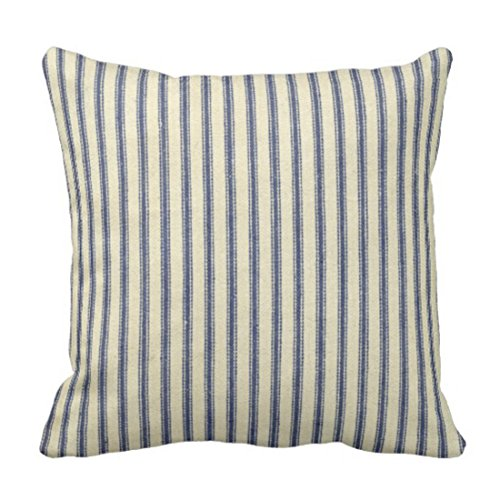 Emvency Throw Pillow Cover Retro Ticking Blue & White Striped Vintage French Decorative Pillow Case Home Decor Square 18 x 18 Inch Cushion Pillowcase (Striped Ticking)